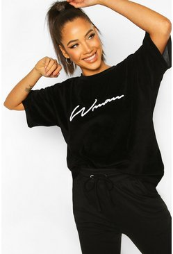 Womens Black Woman Signature Velour T-Shirt