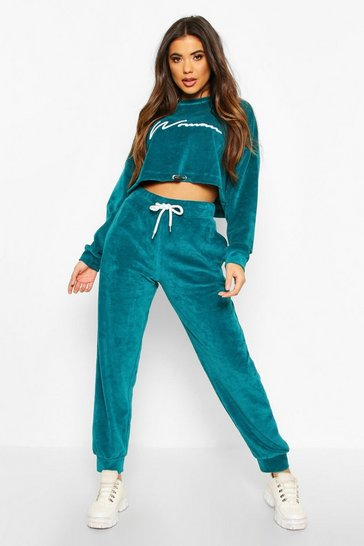 Teal Velvet Drawcord Hoodie and Jogger Tracksuit