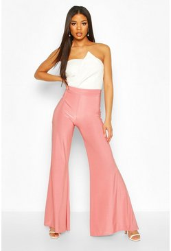 Mauve Soft Touch Wide Leg Trouser