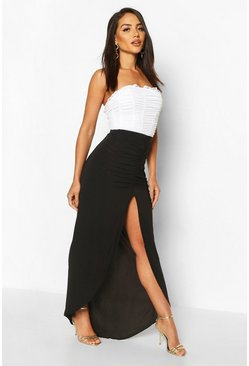 Black Soft Touch Ruched Maxi Skirt