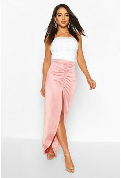 Mauve Soft Touch Ruched Maxi Skirt