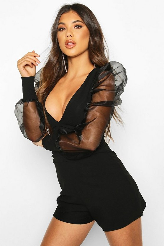 Organza Sleeve Ruched Playsuit