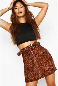 Brown Belted Zip Front Leopard Cord Mini Skirt