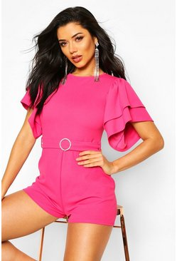 Pink Layered Puff Sleeve Playsuit