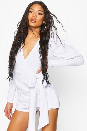 White Puff Sleeve Bow Detail Short Playsuit