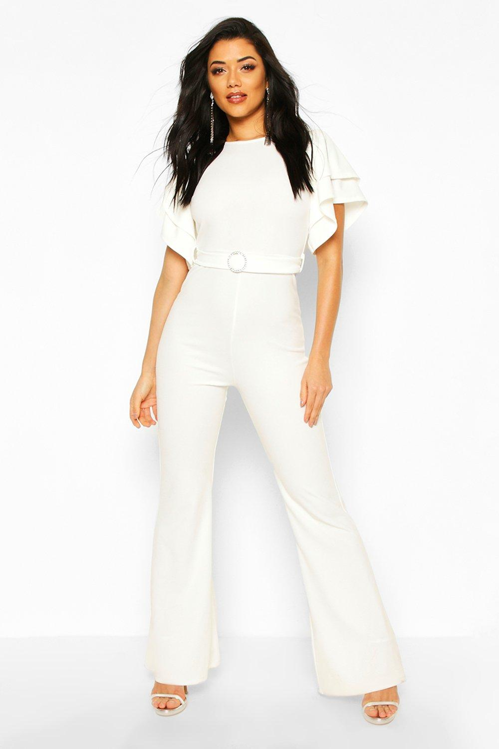 70s Jumpsuit | Disco Jumpsuits, Sequin Rompers Womens Layered Puff Sleeve Jumpsuit - white - 12 $16.00 AT vintagedancer.com