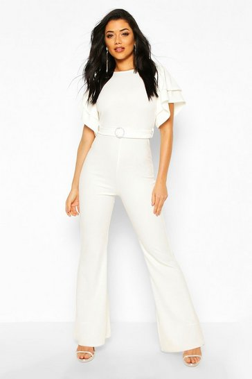 Ivory Layered Puff Sleeve Jumpsuit