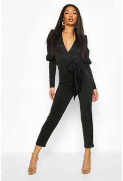 Black Puff Sleeve Bow Detail Jumpsuit