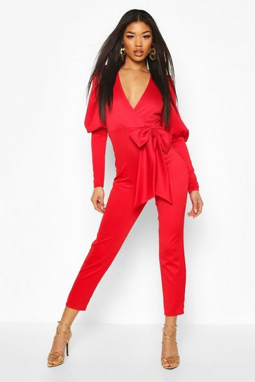 Red Puff Sleeve Bow Detail Jumpsuit