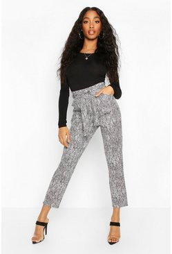 Black Mono Chrome Belted Paper Bag Trouser