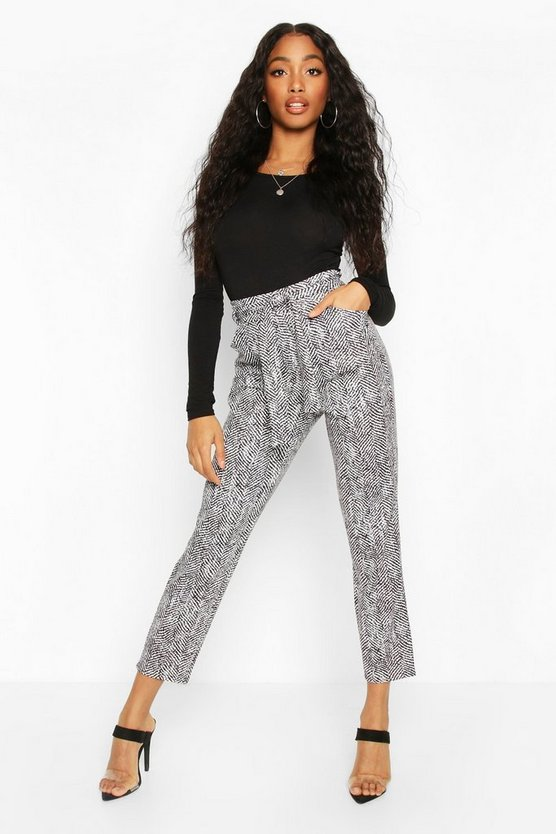 Mono Chrome Belted Paper Bag Trouser