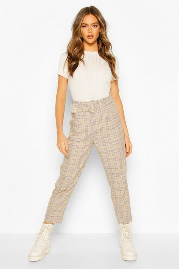 Beige Tonal Check Belted Slim Fit Trousers
