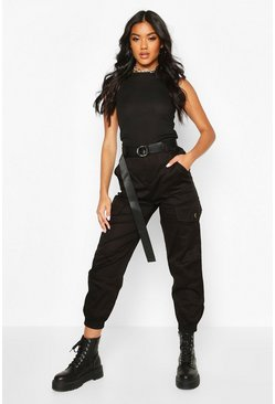 Black Belted Cargo Trousers