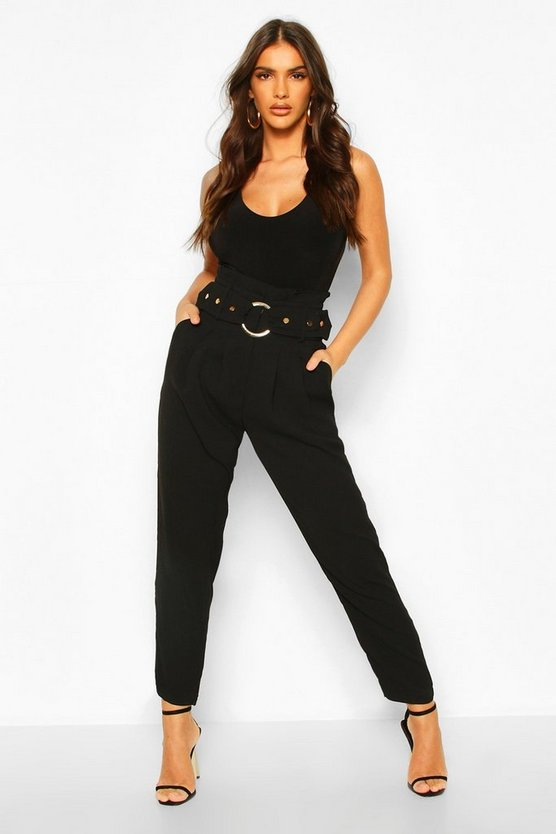 Black Tailored Paperbag Waist Buckle Trouser