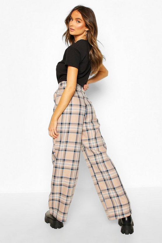 Tonal Check Wide Leg Trousers