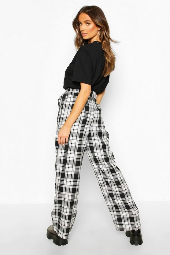 Mono Check Wide Leg Trousers