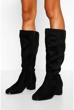Black Wider Calf Wide Fit Knee High Boots