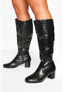 Womens Black Wider Calf Wide Fit Croc Knee Boots