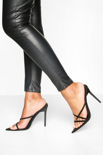 Black Pointed Strappy Stiletto Heel Mules