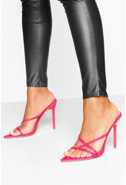 Pointed Strappy Stiletto Mules, Hot pink