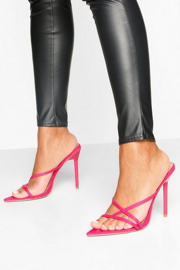 Hot pink Pointed Strappy Stiletto Mules