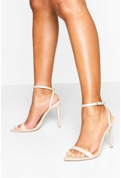 Pointed Toe Two Part Heel Sandals, Nude