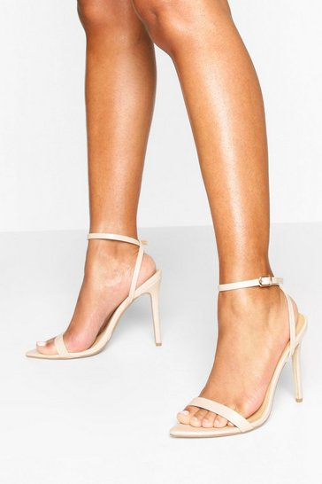 Nude Pointed Toe Two Part Heel Sandals
