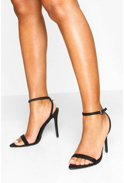 Black Pointed Toe Two Part Heel Sandals