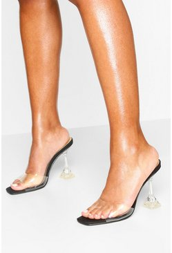 Clear Heel Square Toe Mules, Black