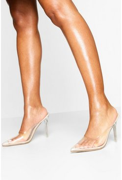 Clear Pointed Heel Mules, Nude