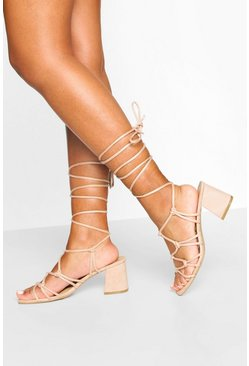 Caged Ankle Tie Block Heel Sandals, Nude