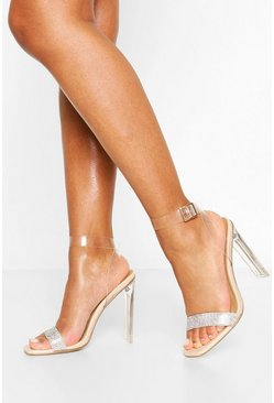 Clear Flat Heel Diamante 2 Parts, Nude