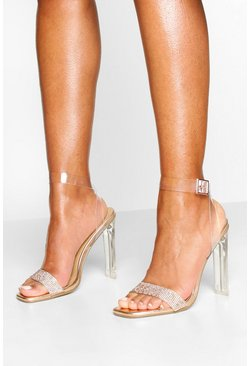 Clear Flat Heel Diamante 2 Parts, Rose gold