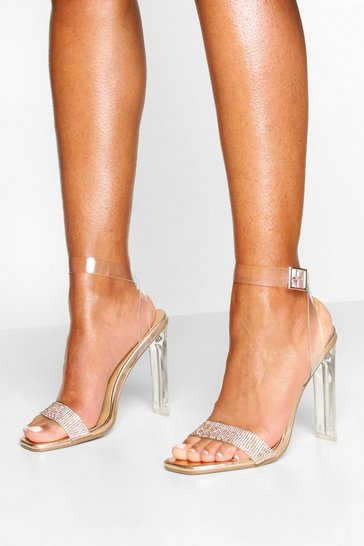 Rose gold Clear Flat Heel Diamante 2 Parts