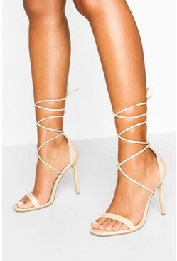 Nude Ankle Tie Stiletto Sandals