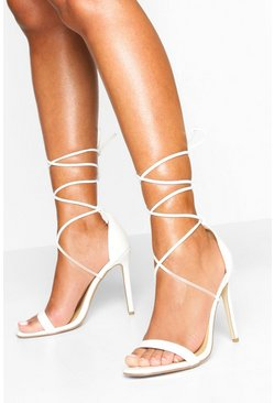 White Ankle Tie Stiletto Sandals