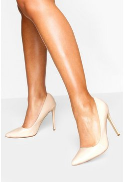 High Heel Pointed Court Shoes, Nude
