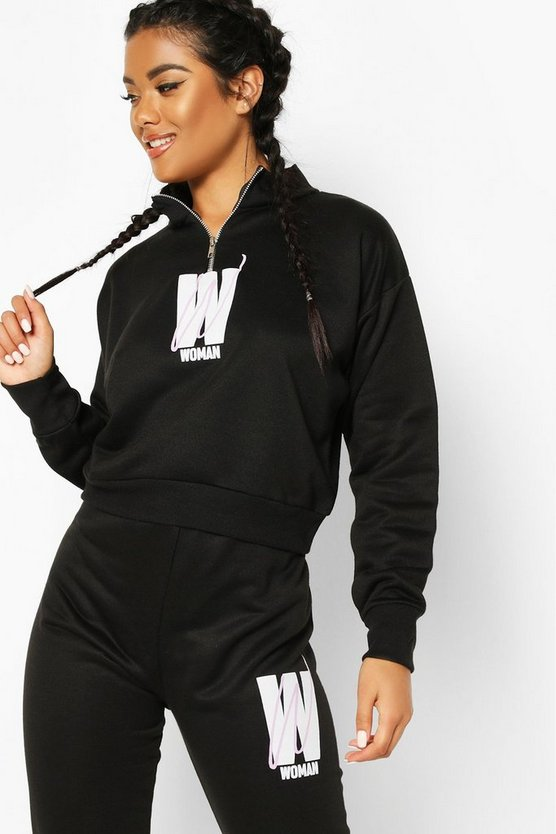 Womens Black Fit Woman Cropped Zip Up