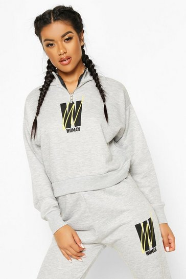 Womens Grey Fit Woman Cropped Zip Up