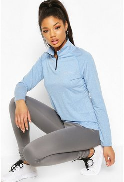 Blue Fit Woman Funnel Neck Marl Top