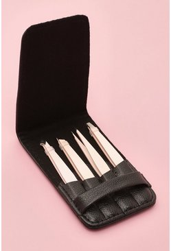 Pink 4 Piece Tweezer Set