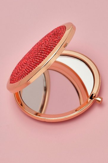 Red Diamante Compact Mirror