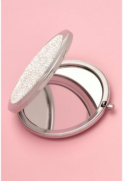 Silver Diamante Compact Mirror