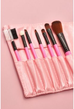 Pink 7 Piece Makeup Brush Set With Pouch
