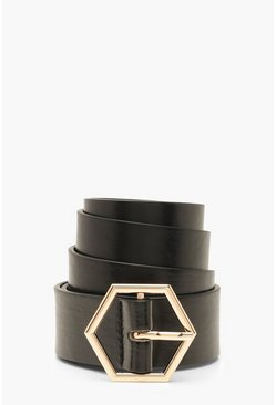 Black Hexagon Buckle Belt