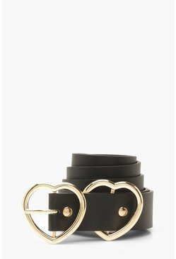 Black Double Heart Buckle Belt