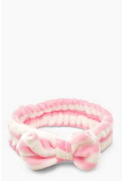 Pink Stripe Bow Spa Facial Headband