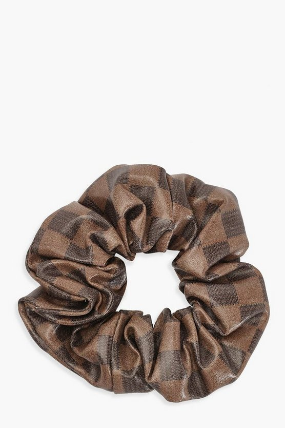 Brown Check PU Scrunchie