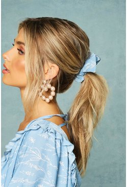 Womens Blue Printed Bow Detail Scrunchie