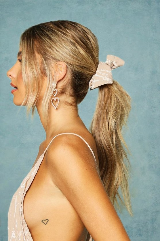 Printed Bow Detail Scrunchie